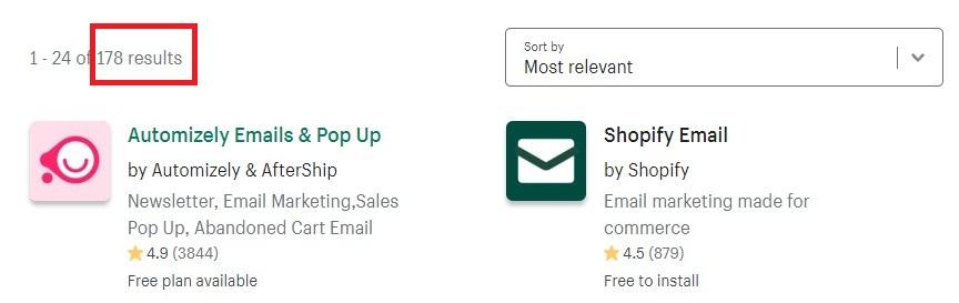 shopifyのメールマーケィングカテゴリのアプリ